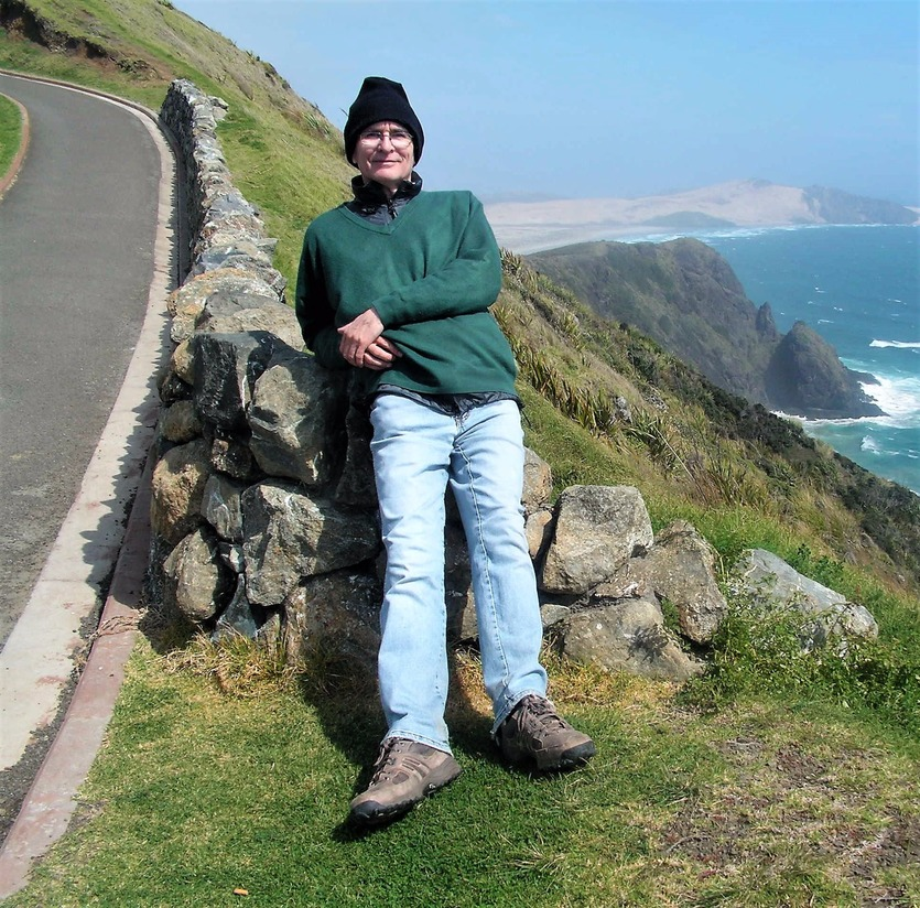 Filmmaker and writer Richard Woolley at Cape Reinga, New Zealand